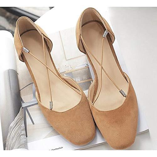 Chunky Basic Light Shoes Fall Black Brown amp; Women's ZHZNVX Sheepskin Black Heel Spring Comfort Pump Heels RwOqRv0