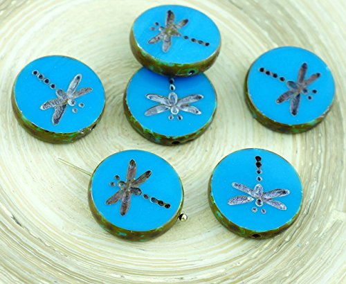 4pcs Opaque Turquoise Blue Brown Rustic Window Table Cut Dragonfly Flat Coin Round Czech Glass Beads 17mm ()