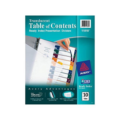 Avery  Ready Index  Translucent Table of Contents Dividers, 10-Tab Set (11818)