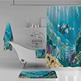 Calypso Fish Shower Curtain iPrint Bathroom 4 Piece Set Shower Curtain Floor mat Bath Towel 3D Print,with Tropical Fish and Algae Polyps Descriptive,Fashion Personality Customization adds Color to Your Bathroom.