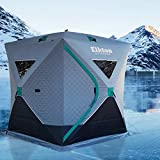 Elkton Outdoors Insulated Portable 3-4 Person Insulated Ice Fishing Tent With Ventilation Windows & Carry Pack: Ice Fishing Shelter Includes Tent, Carry Pack, Ice Anchors & Storage Compartments!