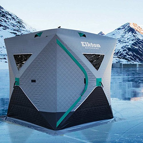 Elkton Outdoors Insulated 3-4 Person Portable Insulated Ice Fishing Tent