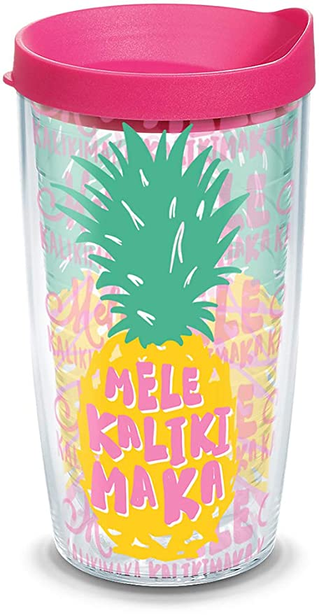 cd796163755 Tervis 1312682 Mele Kalikimaka Pineapple Insulated Tumbler with Lid 16 oz  Clear