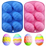 Amurgo Easter Egg Chocolate Silicone Mold, 6-Cavity Non-stick Easter Egg Shaped Silicone Molds for Easter Chocolate, Hot Chocolate Cocoa Bombs, Party Jelly, Ice Cube, Soap - Pink, Blue, 2 Packs