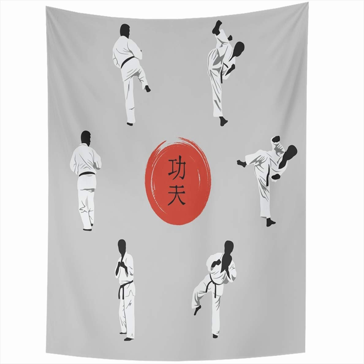 Ahawoso Tapestry 60x80 Inches Group Showing Kung Fu Watercolor Hieroglyph On Red is Karate Wall Hanging Home Decor Tapestries for Living Room Bedroom Dorm by Ahawoso