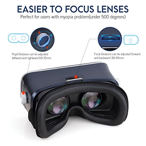Pansonite 3D VR Glasses Virtual Reality Headset for Games & 3D Movies, Upgraded & Lightweight with Adjustable Pupil and Object Distance for IOS and Android Smartphone by Pansonite (Image #1)