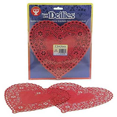 Hygloss 91084 100-Piece Heart Doilies, 8-Inch, Red