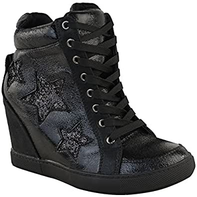Amazon.com | Fashion Thirsty Womens Hidden Wedge Lace Up