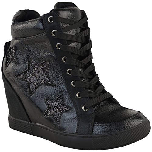 Moda Thirsty Mujeres Hidden Wedge Lace Up High Top Sneakers Glitter Star Zapatos Tamaño Black Faux Leather
