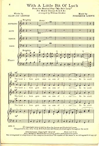 Fair Lady Sheet Music - With A Little Bit Of Luck SATB from My Fair Lady