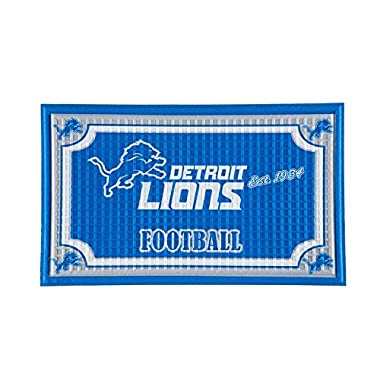 Team Sports America Detroit Lions NFL Embossed Outdoor-Safe Mat - 30  W x 18  H