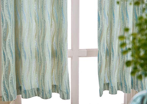Cherhoo Premium Textured Luxury Velvet Flocked Curtains for Living Room with Feather Contemporary Design Green Colored Abstract Wave Jacquard Curtains for Bedroom(2 Panels, 52W×84 Inch Length, ()