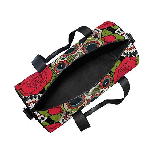Naanle Sugar Skull Rose Day Of The Dead Dia De Los Muertos Gym bag Sports Travel Duffle Bags for Men Women Boys Girls Kids by Naanle (Image #4)