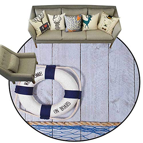 Non-Slip Round Rugs,Buoy,Welcome on Board Greeting Message Holiday Seaman Sailing Maritime Theme, Taupe Cream Navy Blue,Circular Carpet Bedroom A Living Room Desk Seat Cushion Carpet 5
