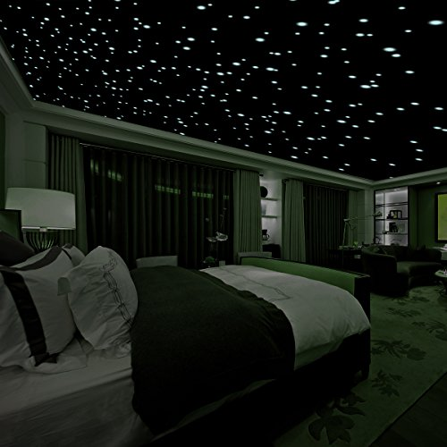 Realistic 3D Domed Glow in The Dark Stars,606 Dots for Starry Sky, Perfect for Kids Bedding Room Gift(606 Stars) (Green) -