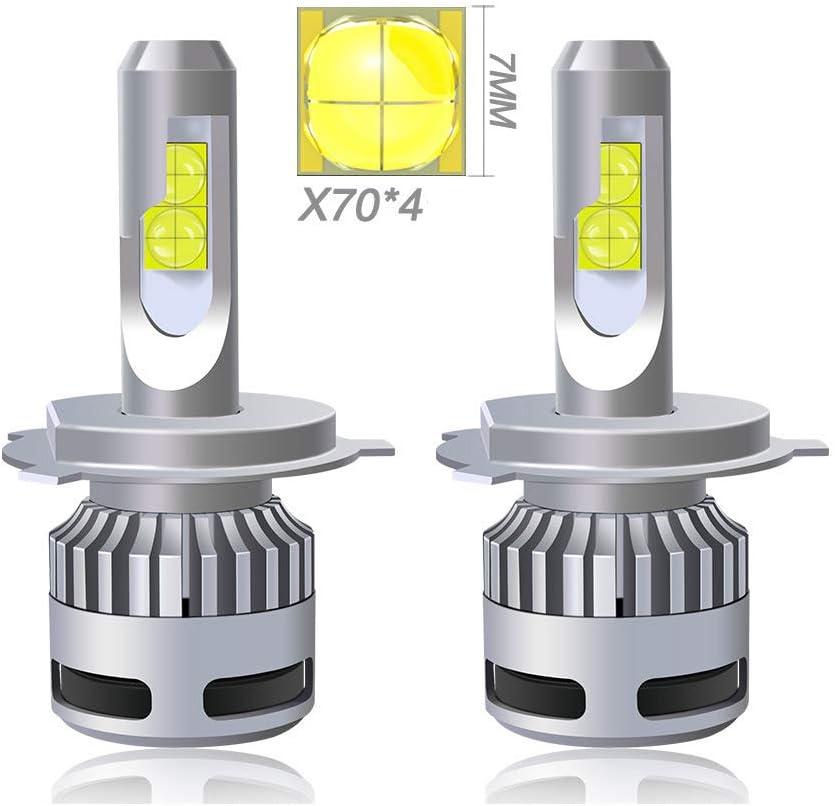 SUNSHIN Bombilla h4 LED Faro, 9000lm Condensador de Alta condensación, una Bombilla de Coche 6000K Distancia modificada, 2 Piezas