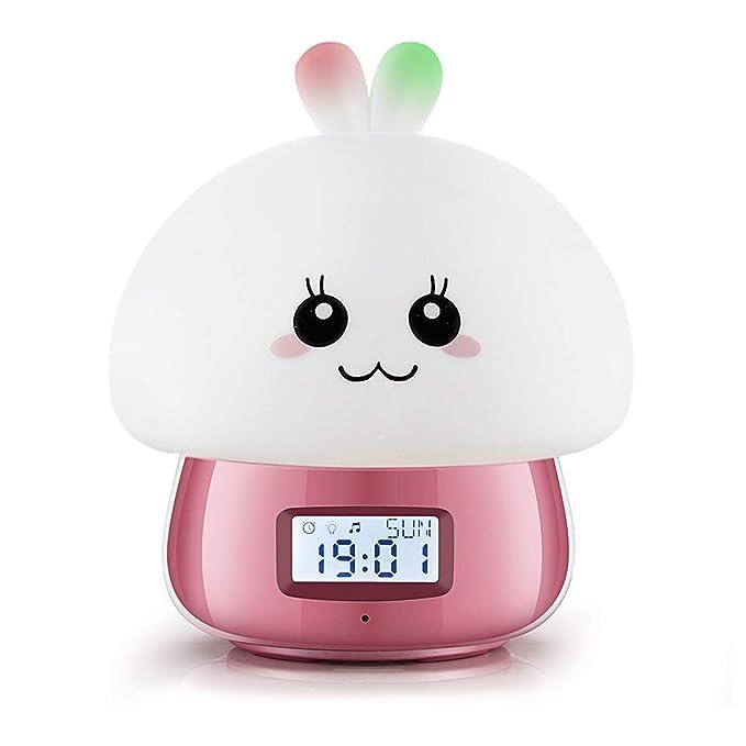 Encantador Lámpara del Despertador, Reloj Despertador JIAMA con Pantalla Digital LED con Controlar Remoto, Luces de Noche de 7 Colores, 11 Hermosos ...