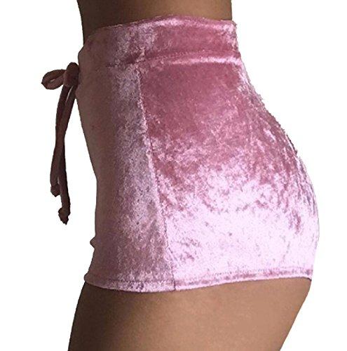RDHOPE-Women Athletic Flannel Homewear Skinny Pleated Short Pants Pink XS