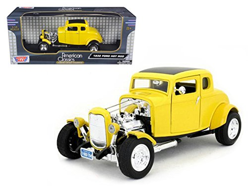Motormax 73172 1932 Ford Coupe Hot Rod Yellow 1/18 Diecast Car Model