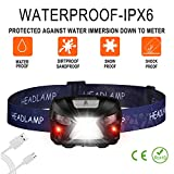Rechargeable LED Headlamp with Red SOS Light,Hands Free Lightweight Motion Sensor Head Torch light, Waterproof Camping Headlight Flashlight for Running Cycling Working Outdoor Sports Emergency Hunting