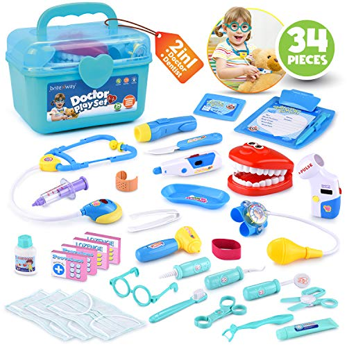 BRITENWAY Educational Doctor Medical Pretend Play Toy Set in Storage Box 34 Pcs - Battery Operated Tools with Lights & Sounds - Promote Learning, Hand to Eye Coordination, Fine Motor Skills -