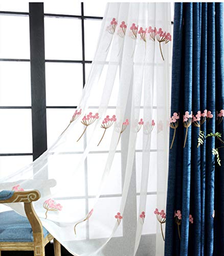 AiFish Floral Embroidery Sheer Curtains Decorative Transparent Window Treatment Panels Light Flitering Home Decor Rod Pocket Tulle Cotton Voile Curtains Sliding Glass Door 1 Panel W39 x L84 inch