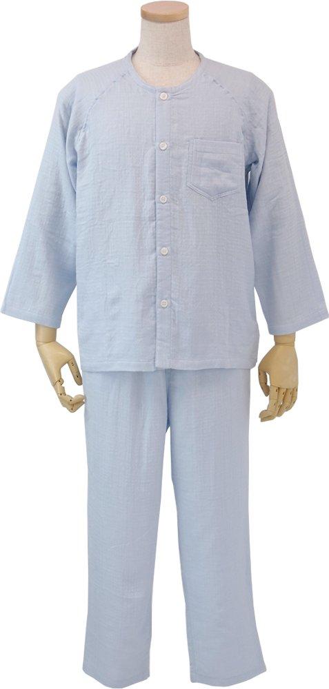 UCHINO メンズパジャマ マシュマロガーゼノーカラー 綿100% 素肌に心地良い (XL) ブルー RPZ15314 XL B B079JFLJL8 X-Large|ブルー ブルー X-Large