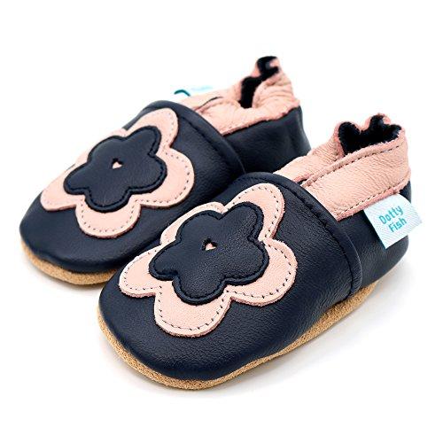 Dotty Fish - Zapatos de cuero suave para bebés - Niños y Niñas - Estrellas Azul con flor rosa