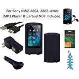 6 Items Accessories Bundle Kit for Sony Walkman NWZ-A864 & NWZ-A865 (8GB / 16GB) MP3 Player: Includes Black Silicone Case, LCD Screen Protector, USB Wall Charger, USB Car Charger, 2in1 USB Cable and Light Blue Fishbone Style Keychain