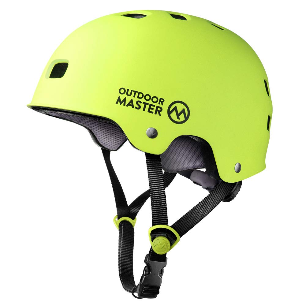 OutdoorMaster Skateboard Helmet - CPSC Certified Lightweight, Low-Profile Skate & freestyle BMX Helmet with Removable Lining - 12 Vents Ventilation System - for Kids, Youth & Adults - L - Lemon