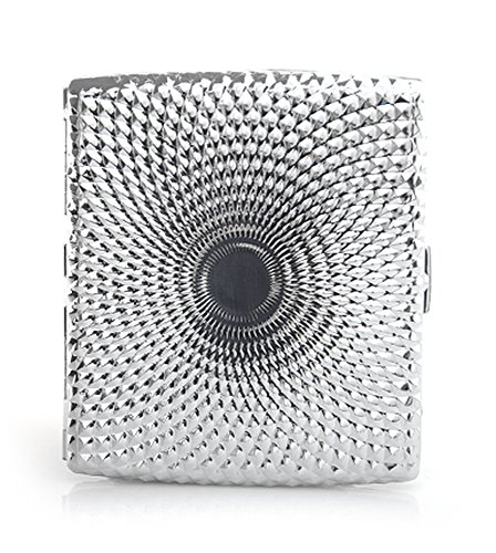 dearWYW Premium Silver Square Antique Intaglio Pattern Iron Cigarette Case Holder 2-Types AR20 (Pattern Cigarette Case)