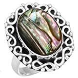 Natural Abalone Shell Gemstone Fashion Jewelry Solid 925 Sterling Silver Ring Size 6