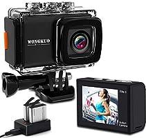 WONGKUO 進化版 アクションカメラ 4K高画質 2000万画素 EIS 手ブレ補正 20MP 水中カメラ 30M防水 WiFi搭載 外部マイク対応 リモコン付き SONY 170度超広角レンズ 2インチ液晶画面 HDMI出力...
