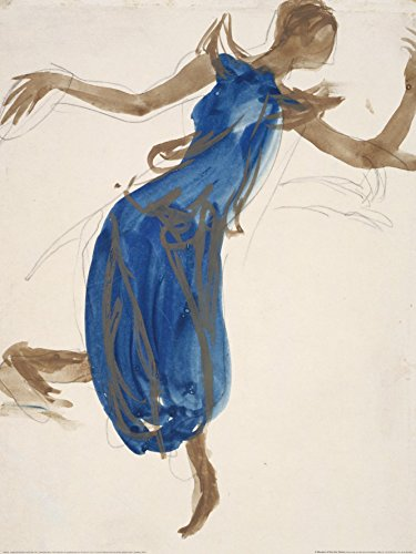 Cambodian Dancer - Blue by Auguste (Rene) Rodin 32x24 Art Print Poster Famous Painting Abstract Figurative Woman Blue Dress