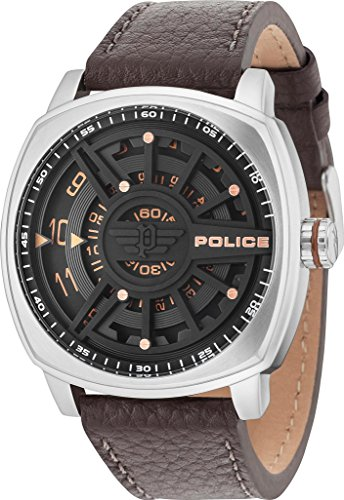 Police Men Watch SPEED HEAD PL.15239JS/02 Brown Leather Strap Black and Silver Case