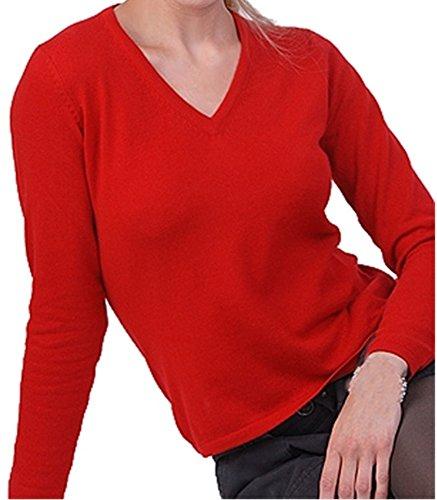 Balldiri 100% Cashmere Kaschmir Damen Pullover 2-fädig V-Ausschnitt rot XXXL