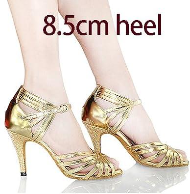 YFF Geschenke Frauen Dance Shoes Ballroom Latin Dance Tango Tanz Shoes 6CM,Golden,33 LEIT
