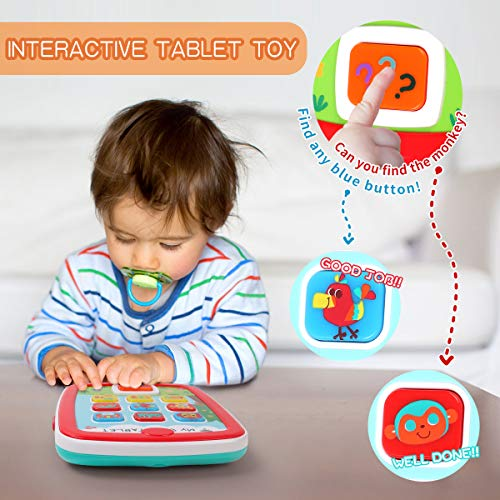 GILOBABY My Baby Tablet with Music & Light, Learning Education Interactive Tablet Toy iPad for Numbers, Alphabet…