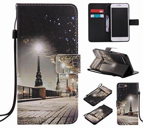 Custodia Apple iPhone 7 Plus Cover Case, Ougger Portafoglio PU Pelle Magnetico Stand Morbido Silicone Flip Bumper Protettivo Gomma Shell Borsa Custodie con Slot per Schede, Scena Notturna