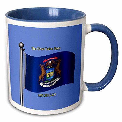 3dRose 777images Flags and Maps -States - Waving flag of Michigan on flagpole with state name and nickname - 15oz Two-Tone Blue Mug (mug_195254_11)