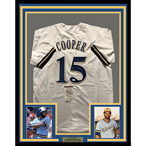 Framed Autographed/Signed Cecil Cooper