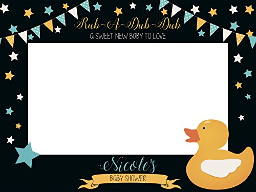 Large Custom Rubber Duck Baby Shower Photo Booth Prop - Sizes 36x24, 48x36; Personalized Social Media Baby Shower Photo Booth Frame, Rub a Dub Dub, Rubber Ducky Baby shower; Handmade baby shower frame