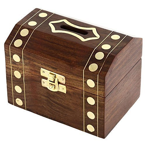 ShalinIndia Handcrafted Wooden Box Treasure Chest Safe Money Piggy Bank 5X3.5 Inch