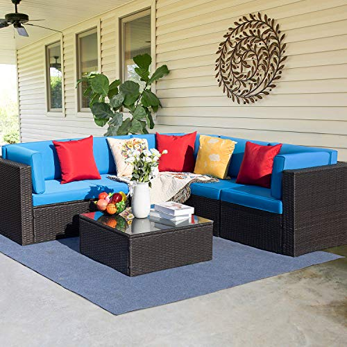 Furniwell 6 Pieces Patio Furniture Sectional Set Outdoor Wicker Rattan Sofa Set Backyard Couch Conversation Sets with Pillow, Cushions and Glass Table (Blue)