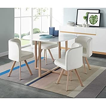 Generique Lund Ensemble Table A Manger 4 Personnes En Metal Decor Chene Plateau Blanc