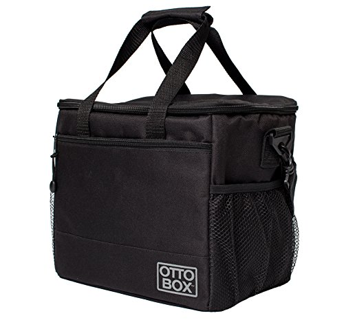 OTTO BOX Insulated Lunch Cooler Bag For Men, Women, Adults || Reusable Lunch Box with Large Mesh Side Pockets and Detachable Shoulder Strap || Black