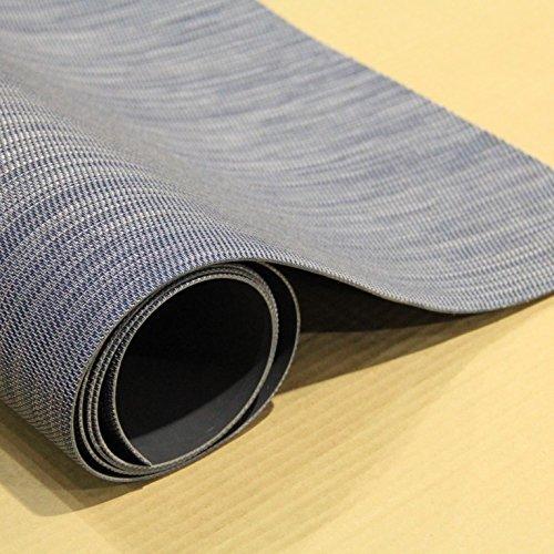 Woven Bamboo Vinyl Floor Mat (Saber Blue, 6' 6