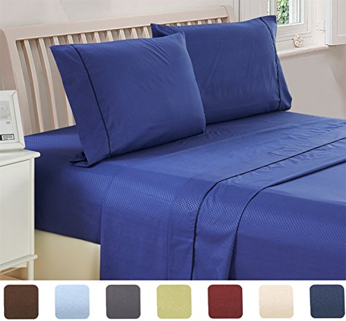 4 Piece Deep Pocket 1800 Series Bed Sheet Set Comfortable, Breathable, Soft & Extremely Durable Quality Platinum Bedding Set, Sheet & Pillow Case by Lux Decor Checkered Collection (Queen ,Navy Blue)