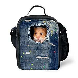 Bigcardesigns Hamsters Thermal Insulated Lunch Bag For Kid Bento Lunch Box Blue