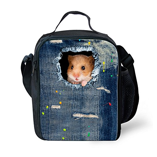 Instantarts Cowboy Blue Mini Hamster Thermos Soft Kids Lunch Box Bag with Shoulder Strap